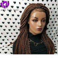 طويل متوسط اللون براون مضفر كامل الدانتيل الجبهة الباروكة مضفر مربع الضفائر الباروكة مع شعر الطفل الضفائر جامبو الباروكات للنساء السود