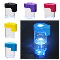 Ultimo colorato Cool Cool Portable LED Lighting Storage Stash Case Custodia Dry Erba Tabacco Spice Milrer Seal Jar Glass Container Bottiglia di alta qualità DHL