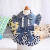 Denim Denim Tutu Dog Chat Chat Summer Summer Vêtements de cow-boy pour Chien Filles Petite robe Bowknot à manches mouillées