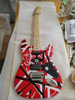 Atualizar Eddie Edward Van Halen Branco Stripe Preto Vermelho St Red Guitarra Elétrica Floyd Rose Tremolo Bloqueio Porca, Pequeno Pickguard Preto