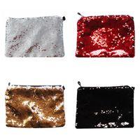 Sublimation Leerer Make-up-Taschen Dame Tragbare Feste Farbe TTO Mermaid Pailletten Mode Bleistift Fall Makeup Tasche Heißer Verkauf 5 5YJ J2