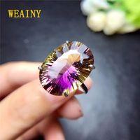 Weiaby 15 * 20 мм Натуральное аметриновое кольцо Подлинное S925 Стерлинговое серебро Простое Аметистовое кольцо Super Super Shiny1