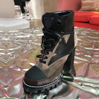 Высокий каблук Мартин сапоги зима Грубые пятки женщина обувь Desert Boots 100% натуральной кожи высокой пятки ботинки зашнуровать высокие каблуки Большой размер 35-42
