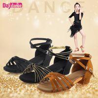 Девушки танцевальная обувь сатин латинских обувь низкий каблук Танго Румба Сальса Бальные латино танцы Обувь для женщин