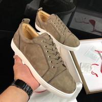 أحذية الراحة Junior Orlato عارضة شقة منخفضة أعلى حذاء رياضة أسفل أحمر الخاكي جلد الغزال سكيت المشي الأحمر باطن Lesiure الشقق EU35-47