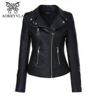 Aorryvla Yeni Sonbahar Kadın PU Deri Ceket Turn-down Yaka kadın Moto Biker Fermuar Ceket Ince Siyah Faux Deri Dış Giyim LJ201126