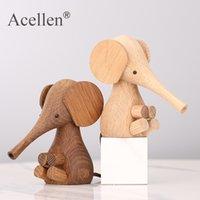 Figurina di legno fatti a mano Elefante Bambini Decorazione della casa Decorazione domestica Ornamenti Giocattoli regalo di vacanza per Natale Elephant Decor T200710