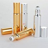 Vide Essential Essential Massage Huile Flacons de flacon Roll-On 10ml UV Gold Noir Black Parfum Verre Bouteille rechargeable 100pcs / Lotgood QualtityGood Sh