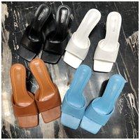 Kamucc 2021 nova marca mulheres chinelo verão sandália ao ar livre quadrado salto alto deslizamento em flip flop elegante mulheres slides sandal1