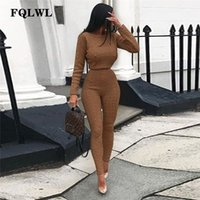 FQLWL Casual Warm Kintted Winter Suit Women Outfits O Neck Black Pink Long Sleeve 2 Piece Set Women Sweater Top + Knitted Pants 201007