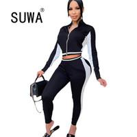 Kadın Eşofman Yan Beyaz Çizgili Patchwork Kadınlar İki Parçalı Kıyafetler Egzersiz Giysileri Uzun Kollu Mahsul Üst Jogging Yapan Pantolon Suit Toptan
