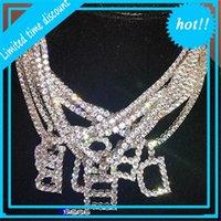 Designer pingente cristal gelado fora da colar inicial 45cm comprimento cadeia letra mulheres homens rocha hip hop bling jóias 26 letras