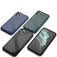 슬림 Shockproof 범퍼 실리콘 전화 케이스 아이폰 11 프로 부드러운 TPU 전체 보호 뒷면 커버 S 라인 모양