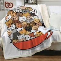 Bettwutnete Teetasse Katze Decke für Bett Cartoon Sherpa Decke Kawaii Wurf Plüsch Bettdecke Pet Bettwäsche Manta Custom Decke 201113