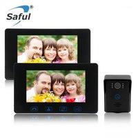 Görüntülü Kapı Telefonları Soyılı 7''color TFT LCD Kablolu Telefon Su Geçirmez Gece Görüş Ile Ev Elektrikli Kilit Kontrolü Interkom1