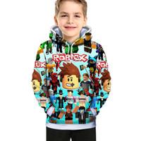 Sudadera con capucha de dibujos animados de niños Roblox Moda 3D Digital Primavera y al otoño Impresión de algodón Niños populares para niños y niños