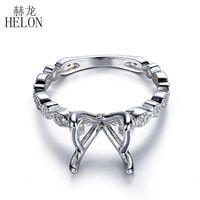 Helon 10-11mm redondos Diamonds sólido 10K White Gold naturais Semi Diamonds casamento Monte Anel de noivado Mulheres Fine Jewelry Anel