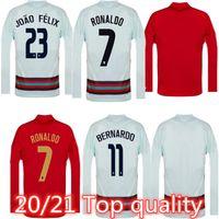 New Long Sleeve National Team Soccer Jerseys Ronaldo Joao Felix Casa Away Youts Camicia da calcio 20 21 Camicie da calcio Camisa de Football