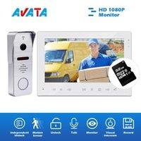 """Görüntülü Kapı Telefonları 7 """"Telefon İnterkom Ev Güvenlik Sistemi IR Su Geçirmez Kapı Zili Kamera ve Bağımsız Kilidini 1080P Monitor1"""