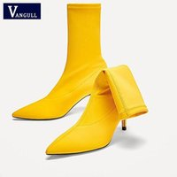 Сапоги Vangull Осенние Носки Женщины Упругостия Стрелач 2021 Мода Скольжение на высоком каблуке Насосы лодыжки STILETTO BOTAS1