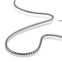 Ketten Retro Mode Mann Anhänger Halskette Gentleman Thai Silber Trendy Square Box Kette 3mm 61 cm Feste 925 Sterling Schmuck