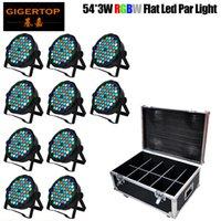 Caja del camino 10in1 Paquete 54x1W llevó etapa luz RGBW Profesional Par puede boda StageDJ iluminación DMX512 Master-Slave LED PAR64