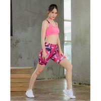 Bayanlar Spor Yoga Şort Yansıtıcı Şerit Gece Koşu Spor Çalışan Hızlı Kuruyan Sıkı Montajlı Beş Noktalı Pantolon Tayt