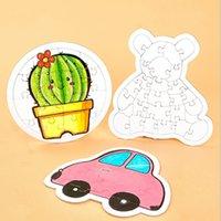 FAI DA TE Children Color in Jigsaw Puzzle Blank Carta Doodle Giocattoli Giocattoli educativi Bambini educativi Cactus Butterfly Immagine Puzzle Regali Forniture G12805
