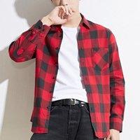 Camicie casual da uomo Camicia a quadri maschile 2021 Moda primavera Autunno Autunno Manica lunga Slim-fit Tops di alta qualità 100% cotone morbido flanella Plus Size 4x