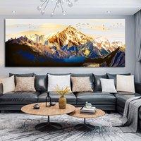 DDHH büyük boy altın dağ kuş manzara tuval resimlerinde baskı posteri yağlıboya oturma odası için modern ev dekorasyon