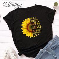 ÉLIIIYA TEE GRAPHIQUE SUNE SUN SUN SUN FLEUR IMPRESSE O-COU À Manches courtes LOSSE T-shirt Femmes T-shirts T-shirts Coton Tshirt Plus Taille1