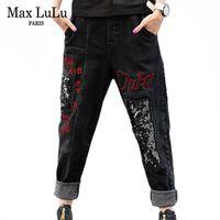 Max LuLu mode style coréen dames Denim hiver Pantalons Femmes Punk Ripped Sarouel Vintage Paillettes Femme Printed Jeans 201014