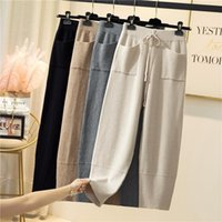 Soft knitted pants women autumn winter pocket Harun pants thick high-waisted women's Cotton casual knit trousers