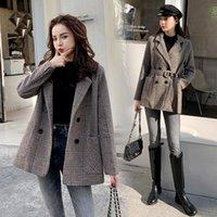 Женская шерстяная смесь Karolyidora Houndstooth талии шерстяные пальто женщины 2021 зимняя мода продукция корейский толстый костюм