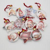 DIY Weihnachtsgeschenke Foto Ball Clip Transparent Runde Fünf-Sterne Weihnachtsbaum Ornamente Valentinstag-Geschenk XD24062