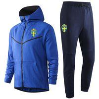2020 İsveç milli takım futbol Hoodie Kazak Eşofman kış mens Setleri Koşu gündelik spor kapüşonlu antrenman spor takım elbise ayarlar