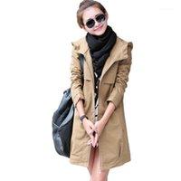 Damengrabenmäntel 2021 Frühling Herbst Mode Plus Größe Frauen Mantel Lässig Kapuzen Lange Weibliche dünne feste dünne Oberbekleidung1