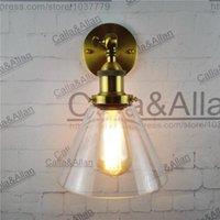 الجدار مصباح خمر E27 الشمعدان مع القمع اندلع الزجاج الظل الإضاءة العتيقة النحاس اديسون الرجعية