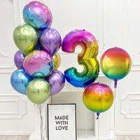 5pcs 22inch 그라디언트 컬러 4D 풍선 40inch 무지개 번호 호 일 풍선 생일 웨딩 파티 장식 키즈 선물 공기 Globos