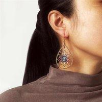 Baumel kronleuchter boho vintage geometrische ohrringe für frauen wassertropfen hohle blütenförmige farbe künstliche perlen ohrring set weibliche juwelr