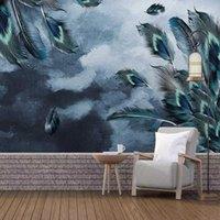 Обои Обои Custom 3d po обои голубое павлин перо искусство картины стены исследование комната фон украшение росписи