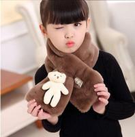 جديد تقليد الأرنب الشعر اللون النقي الأطفال وشاح الطفل بنين بنات القطيفة الدب الصغير الرقبة دافئ إكسسوارات الأوشحة