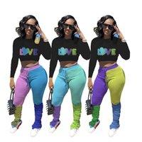 Artı Boyutu Kadın Eşofman Mektupları Aşk Uzun Kollu Tişörtü Kırpma Kontrast Renk Pantolon Pantolon Tops İki Adet Kıyafetler Spor Takım D102603