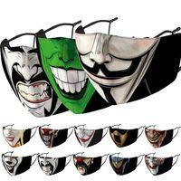 faccia maschera faccia maschere moda uomini donne pagliaccio Halloween mascherano stampati maschera antipolvere antivento Haze maschera lavaggio sostituibile