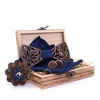 DHL ou Fedex 20pcs / lot en bois Bow Tie Mouchoir Set creux Bowtie hommes conception Sculpté Floral Cut et de la mode Ties Nouveauté Boîte