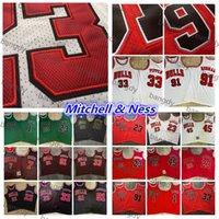 Mitchellness Basketball 23 Michael Jersey 45 JD 91 Dennis Rodman 7 Kukoc 1 Rose 94-95-96-97-98 Bordado cosido North Carolina Shirts