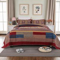 Country Style 100% Baumwolle Handgemachte Patchwork BettSpread Sets Quiltdecke 3 Stück King Size Bedscread Kissen Shams Ultra Soft1