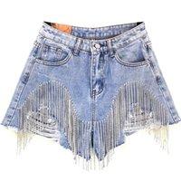 Frauen Luxuriöse Quaste Strass Fransen Loch Jeans Shorts Weibliche Hohe Taille 2020 Sommer Mode Designer Wide Bein Denim Shorts Z1205