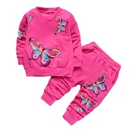Botezai Children Girls Ropa Sets 2019 Summer Fashion Style Butterfly estampado camisetas + Pantalones 2pcs Baby Girls Ropa Sets 0126