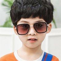 Kinder Sonnenbrille Kind-Kind-Metall-Platz Sonnenbrillen Mädchen Steampunk Brillen Junge Schatten